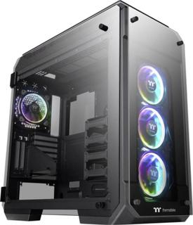 Full Tower PC-kabinet Thermaltake View 71 Tempered Glass RGB Plus Sort, RGB 4 forudinstallerede LED blæsere , Siderude , Værktjsfri harddiskinstalleri