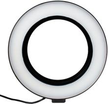 Selfie-lampa/ring light (26 cm) med formbart stativ