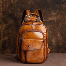 Johnature 2020 New Retro Men Mini Backpack Genuine Leather Multifunctional Bag First Layer Cowhide Handmade Male Chest Bags