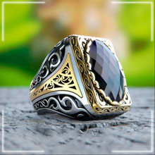 925 Sterling Silver Ring For Man Real Pure Aquamarine Zircon Stone Handmade Turkish Jewelry