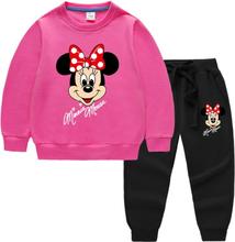 Disney Minnie Mouse Print Girls Clothes Set Cartoon Baby Hoodies Sweatshirt+Pants 2 Piece Sport Suits Toddler Kids Tracksuit