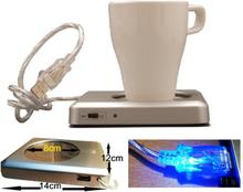 Te-kaffekopp varmare usb-varmplatta med extra usb-port