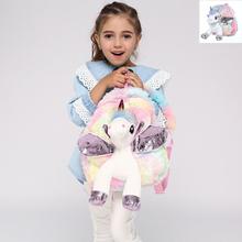 Cute Unicorn Student School Backpack Girl Cartoon Mini Fur Schoolbag Kidergarten Doll Plush Bag Toy Doll Backpack Children Gift