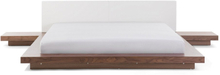 Dubbelsäng med sängbord 180 x 200 cm brun ZEN