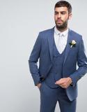 ASOS WEDDING Slim Suit Jacket in Airforce Blue 100