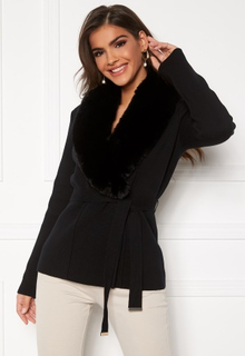 Chiara Forthi Arina heavy knit wrap jacket Black 40