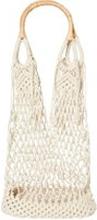 PIECES Baumwollnetz Einkaufs Tasche Damen Beige