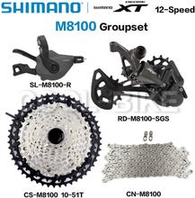 Shimano 12 Speed Groupset DEORE XT M8100 Groupset MTB Mountain Bike 1x12-Speed Shifter Lever Rear Derailleur 51T Cassette Chain