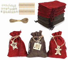 Christmas 2021 Advent Calendar 24Days Hanging Drawstring Candy Bags with Stickers DIY Sacks Reusable Xmas Countdown Decorations