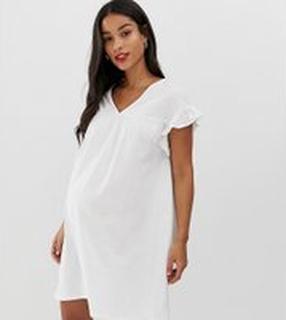ASOS DESIGN - Maternity - Vändbar miniklänning med smock i bomullsslub - Vit