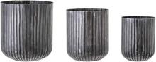 BLOOMINGVILLE urtepotteskjuler - sort metal, rund (sæt á 3)