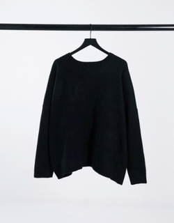 ASOS DESIGN Curve Charity Christmas jumper sequin let it snow for ASOS Foundation-Black