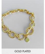 Astrid & Miyu – Guldpläterat armband med långa länkar i äkta silver