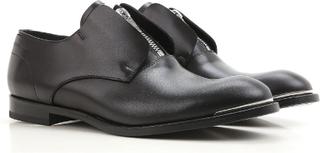 Alexander McQueen mäns zip loafers i svart kalvskinn 43