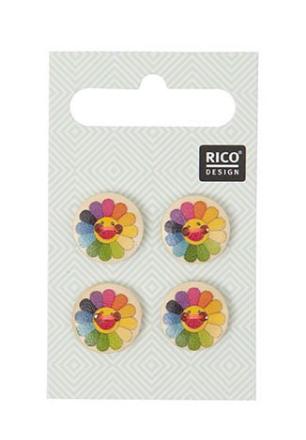 Knapper med fargerike solsikker, 1,5 cm
