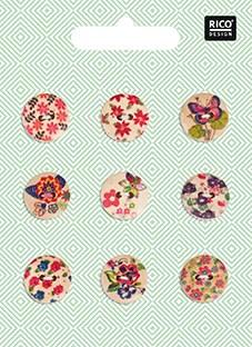 Treknapper Mix Blomster 1,5 cm