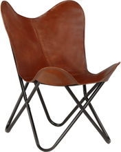 vidaXL butterflystol ægte læder børnestørrelse brun