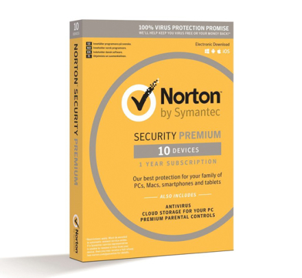 Norton Security med Backup PREMIUM - 10 enheder / 1 år