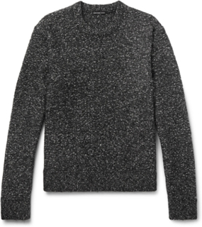 Mélange Cotton-blend Sweater - Gray