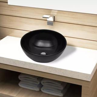 vidaXL Håndvask i keramik til badeværelse, sort, rund