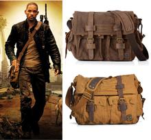 2020 Fashion Vintage Leather Canvas Men's Messenger Bag Cotton Canvas Crossbody Bag Men Shoulder Bag Sling Casual Bag