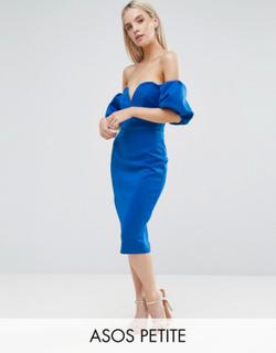 ASOS PETITE Scuba Puff Sleeve Bardot Midi Dress - Blue