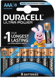 Duracell Ultra Power, LR03/AAA batterier, alkaliska, 1,5V, 8-pack