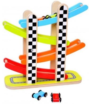 Tooky Toy - Bilbana Med Bilar I Trä