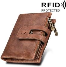 RFID Plånbok i äkta skinn med dragkedja