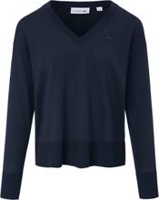 V-ringad tröja förskjuten axelsöm från Lacoste blå