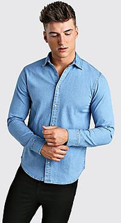 Long Sleeve Muscle Fit Denim Shirt