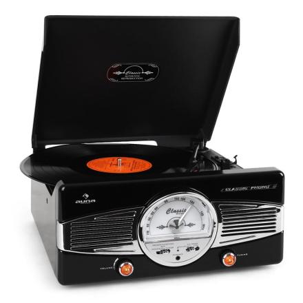 MG-TT-82B skivspelare 50-talsstil FM-radio svart