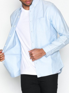 New Look Ls New Oxford Skjortor Pale Blue