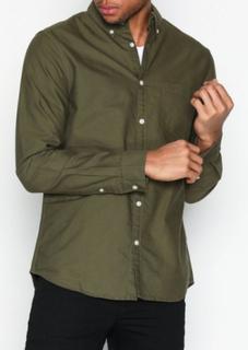 New Look Ls New Oxford Skjortor Khaki
