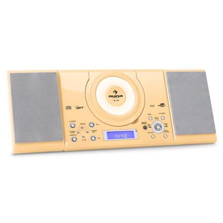 MC-120 stereo MP3 USB CD FM/AM väggmontage gräddfärgad