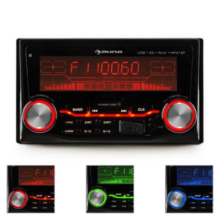 MD-200 2G bilradio USB SD MP3 Bluetooth 3 färger