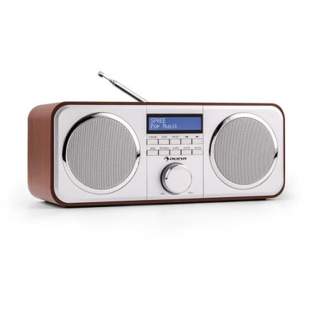 Georgia DAB-radio DAB+ FM presets väckarklocka AUX körsbärsfärgad