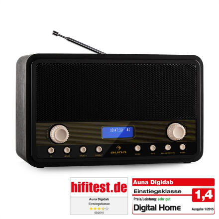 Digidab retro DAB/DAB+ digitalradio FM/AM PLL dubbel-alarm snooze sleep-timer