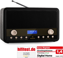Digidab retro DAB/DAB+ digitalradio FM/AM PLL dubbel-alarm snooze sleep-timer