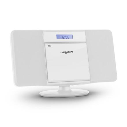 V-13 stereoanläggning CD MP3 USB radio väckarklocka vit väggmontering