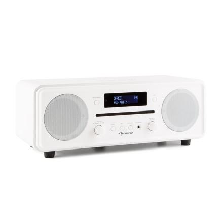 Melodia CD DAB+/UKW Desktop Radio CD-Spelare Bluetooth Alarm Snooze vit