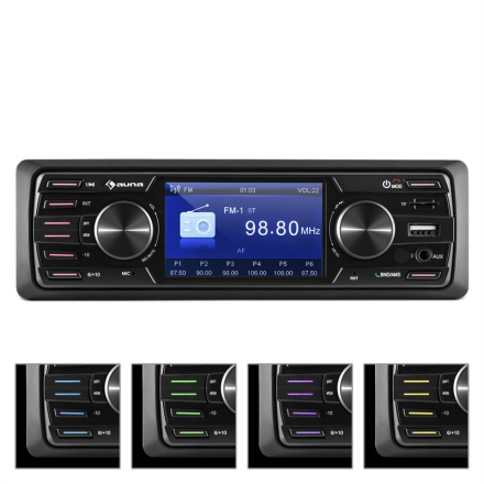 "MD-550BT Bilradio / Moniceiver Deckless BT USB SD 3""TFT AUX Fjärrkontroll"