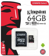 64GB Kingston Canvas class 10 (MicroSDXC med SD adapter)