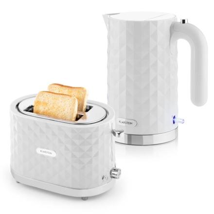 Granada Bianca Frukostset | 2000W Vattenkokare 1000W Toaster | Vitt