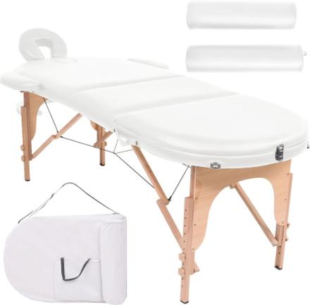 vidaXL Hopfällbar massagebänk 10 cm tjock med 2 bolster oval vit