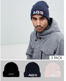 Analog Beanie 3-Pack in Black/Navy/Pink - Multi
