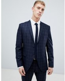 Selected Homme Navy Suit Jacket With Grid Check In Slim Fit - Navy blazer