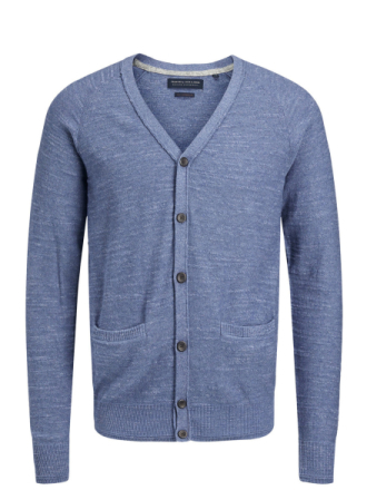 JACK & JONES Classic Knitted Cardigan Men Blue