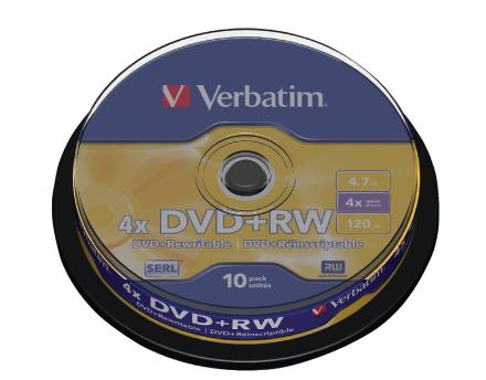 Verbatim 43488 4 x Dvd + rw - spindel 10 Pack
