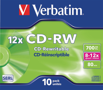 Verbatim Vb-crw16jc Ð tomme cd'er (cd-rw, 700 Mb, 10 Pc (s), 80 min...
